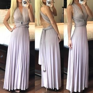 Lulu's Tricks of the Trade Taupe Maxi Dress